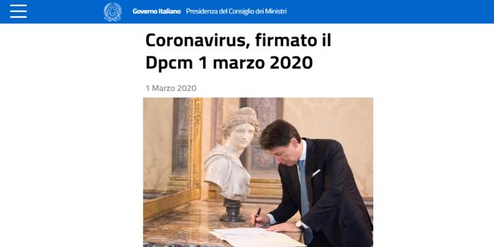 Dcpm 1 Marzo 2020